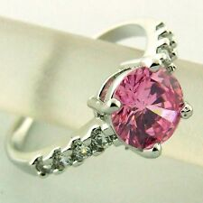RING REAL 18K WHITE G/F GOLD PINK SAPPHIRE DIAMOND SIMULATED DESIGN FS3AN448