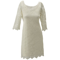 Jessica Simpson Women's 3/4 Sleeve Lace Dress Ivory 12 #NJNJK-M469