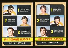 2 card lot 1972 Topps Hockey #62 Assists, #63 Scoring Leaders Orr, Esposito NM