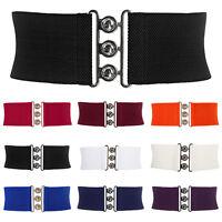 Women Wide Metal Elastic Waist Belt Waistband Stretch Buckle Vintage Dress Belts
