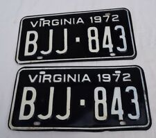 Pair of 2 Matching Virginia License Plates 1972