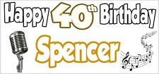 Singer Music 40th Birthday Personalised Banner X2 Party Decorations Mens Ladies