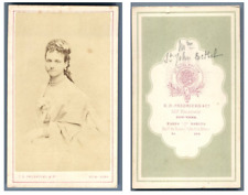 C. D. Fredricks, New-York Portrait d'une dame CDV vintage albumen carte de