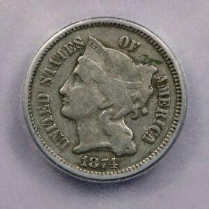 1874-P 1874 Three Cent Nickel ICG F15