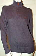 Polo Ralph Lauren CL3 Blue Cotton Blend Neck Zip Design Sweater Sz S