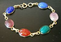 Vintage EGYPTIAN Revival Carved SCARAB Beetle Link BRACELET Gemstone Imitation