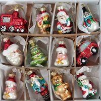 Christmas Hanging Decorations Tree Set Of 12 Mini Glass Ornaments Xmas Figures