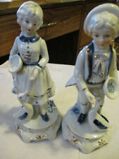 ROYAL MERIDIAN Vint Hand Made &Painted Bisque Porcelain Boy & Girl Feeding Ducks