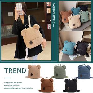 Fleece Backpack Cute Bear Shaped Shoulder Bag Women Kids Autumn Casual Travellin