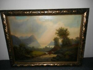 19th Century oil painting +- 1880, { Woman, baby, cows - mountain landscape }.