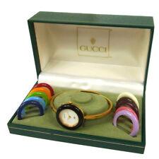 Authentic GUCCI Vintage Change Bezel Quartz Wristwatch Bangle Gold AK23578