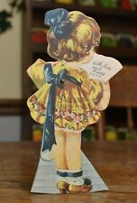 New listing vintage 1923 Valentine card stand up working arms to hide card. rare antique