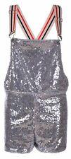 Adult Sequin Dungarees Ladies Mens Shorts Hotpants Sparkle Festival Fancy Dress