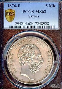 German States Saxony 1876 5 Mark Coin Thaler Taler PCGS MS 62 VZ/F.STG UNC RARE