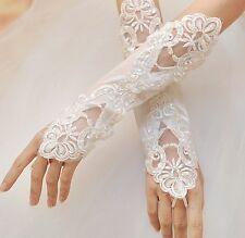 Gants de mariée BLANC SATIN sans doigts Accessoires mariage