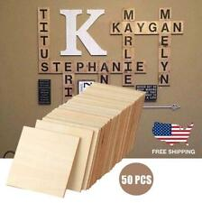 DIY Wood Square Blank Slices for Painting Craft Decor Wall Home 50 Pieces