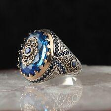 Sterling 925 Silver Handmade Jewelry Aquamarine Men's Ring Size 9