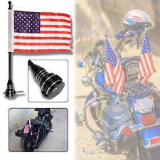 Black Motorcycle Bike American USA Flag Flag Pole Luggage Mount For Harley