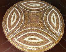 Kim Seybert BROWN + GOLD AFRICA AFRICAN Inspired BEADED Placemat Centerpiece Mat