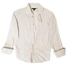 Banana Republic Mens Dress Shirt 16 1/2 Large Blue Stripe Flip French Cuff G23