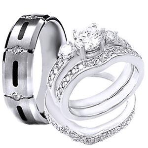 STERLING SILVER His & Hers 4 pcs Mens TITANIUM Wedding rings & Womens bridal set