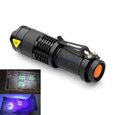 Mini Portable UV Ultra LED Flashlight Violet Purple Blacklight Torch Lamp Light