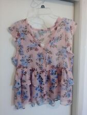 Women's Crave Fame By Almost Famous Sleeveless Pink Multi Floral Top Xl *New*