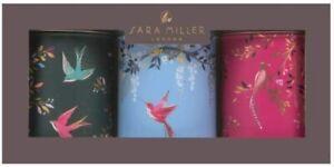 Sara Miller Set of 3 Coffee Sugar Tea Tin Caddies Canister Chelsea Blue Pink
