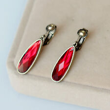 Rings`Ears Clips Pendant Golden Drop Simple Red Faceted Retro E8