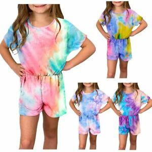 Kids Girls Tie Dye Printed Jumpsuit Shorts Short Sleeve Bodysuit Stylish Clothes