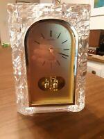 SEIKO Japan Quartz Lead Crystal Desk Mantel Clock with Rotating Pendulum