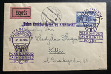 1936 Krakow Poland First Balloon Flight Airmail Cover To Lublin