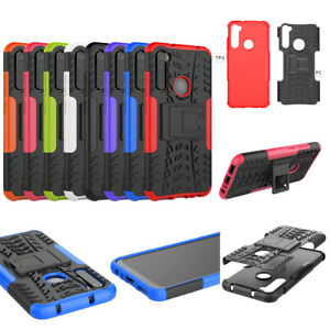For Xiaomi Redmi Note 8 Note8 Hybrid Rugged Kickstand Armor Case +Tempered Glass