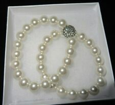 NWOT PEARL BRACELETS WITH DIAMOND JEWEL,LOT OF 2,JEWEL ON ONE BRACELET,NICE!