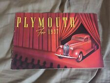 1937 Plymouth Speciale Deluxe Originale Colore Brochure Catalogo Prospetto