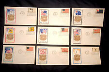 Lot of 9 First Day Covers - Historic US Flags Theme - 6 cent