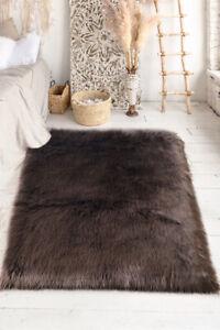 Lambzy FAUX  Rectangular Sheepskin,Silky Shaggy Rug,Soft Touch Fur -BROWN color
