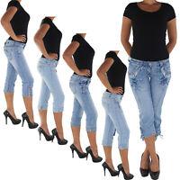 Damen Capri 3/4 Jeans Shorts Bemuda Kurze Hüft Stretch Hose 88a