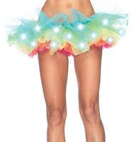 Adult Womens LED Light Up Neon Rainbow Tutu Skirt Halloween Costume Fancy Dress