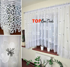 White Ready Made Voile Net Curtains with Lace & Embroidered Flowers Home Decor