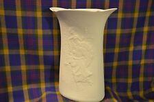 Vtg Tall KAISER Bisque Matte White Oval Shaped Vase-Maden/Knight Design-WGermany