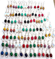 New Mix Gemstone 925 Sterling Silver Overlay Wholesale Lot Hook Earrings 45pcs
