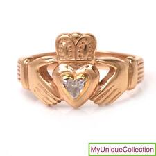 "Estate Diamond 14K Yellow Gold Claddagh Ring Size 9 1/4"""