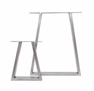 2 x Industrial Trapezium Box Section Table Legs + FREE Floor Protectors & Screws