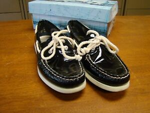WOMEN'S SPERRY TOP-SIDER 9296021 BLACK PATENT BOAT SHOES SIZE 7M