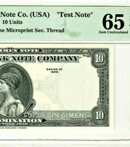 "$10  SPECIMEN ""TEST NOTE""  AMERICAN BANK NOTE (SPECIMEN) ""CGA GRADED"" EPQ 65 !!!"