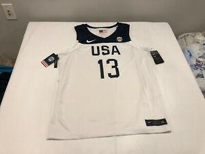 NWT $110.00 Nike Mens USA Basketball Jersey James Harden # 13 White/Navy Size XL