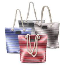 Hot Women's Large Stripe Canvas Handbag Shopping Tote Shoulder Beach Bags Tote