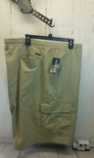 New Men's Chaps Washed Poplin Pull On Cargo Shorts 4XB Hampton Khaki 100% Cotton
