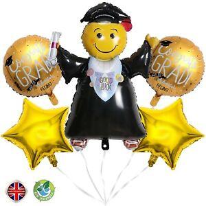 Graduation Foil Helium Balloons Congratulation party decoration straw & ribbon
